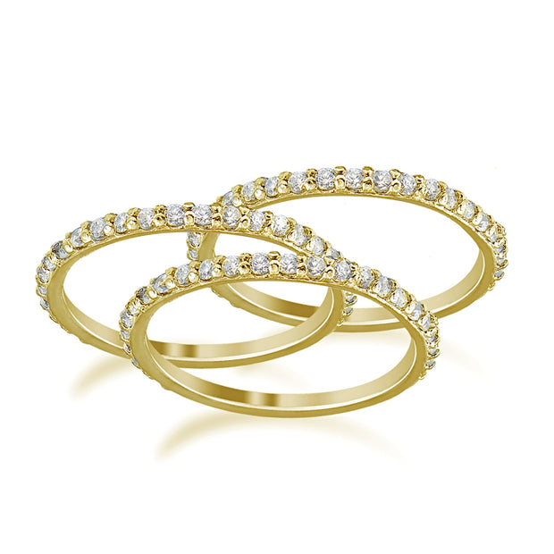 Gold Tone over Sterling Silver Cubic Zirconia Eternity Stackable Wedding Bands Ring 3pc Set
