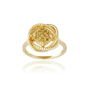 1K Gold over Sterling Silver 1/4ct Yellow Diamond Love Knot Ring