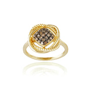 1K Gold over Sterling Silver 1/4ct Champagne Diamond Love Knot Ring