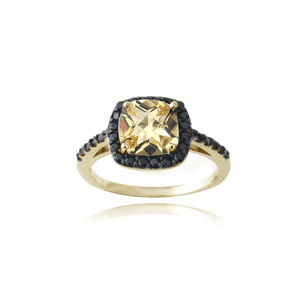 Gold Tone over Sterling Silver 2.55ct Citrine & Black Spinel  Cushion Cut Ring