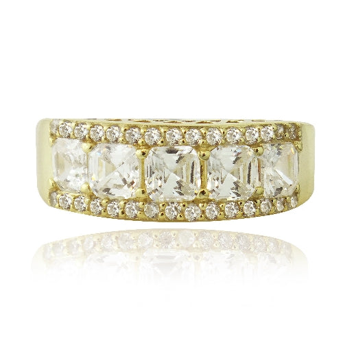 1K Gold over Sterling Silver Asscher Cut CZ Wedding Band Ring
