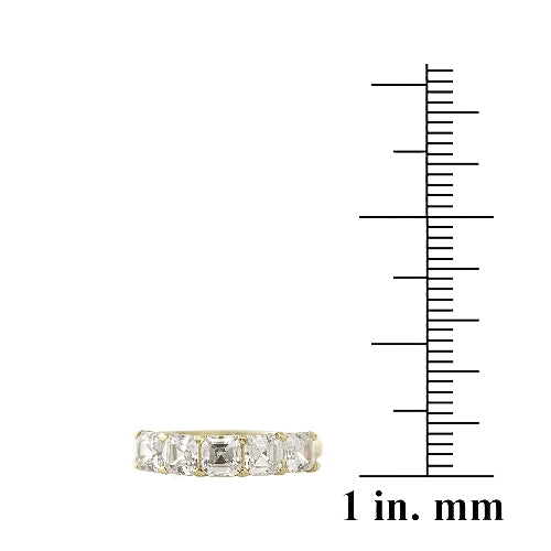 1K Gold over Sterling Silver Asscher Cut CZ Semi Eternity Band Ring