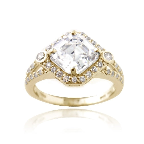 1K Gold over Sterling Silver 3ct Asscher Cut CZ Geometric Split Shank Ring
