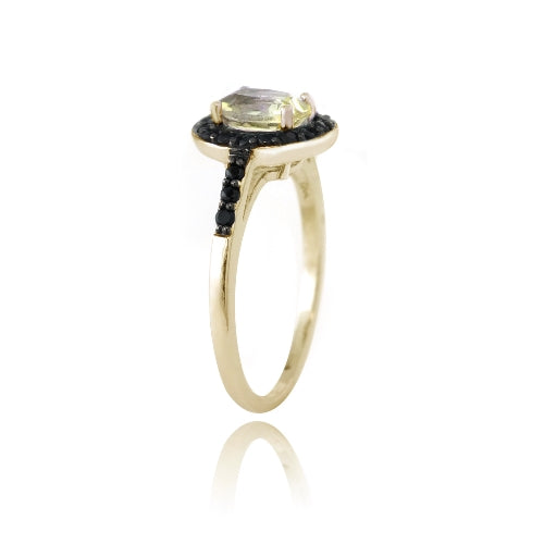 1K Gold over Sterling Silver 1.3ct Citrine & Black Spinel Oval Ring