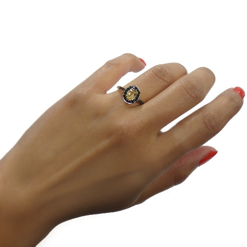18K Gold over Sterling Silver 1.35ct Citrine & Black Spinel Oval Ring