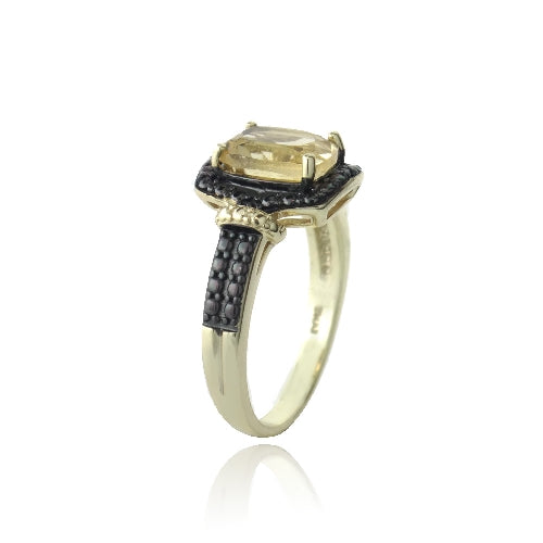 18K Gold over Sterling Silver 1.5ct Citrine & Black Diamond Accent Rectangle Ring