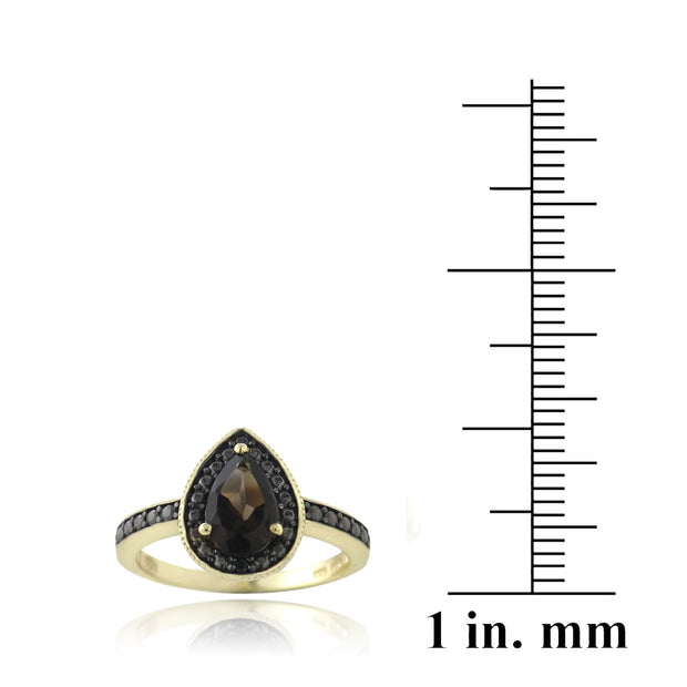 1K Gold over Sterling Silver 1 ct Smoky Topaz & Black Diamond Accent Teardrop Ring