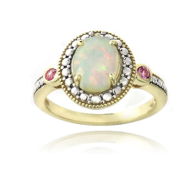 Gold Tone over Silver Diamond Accent Created White Opal & Pink Sapphire Oval Ring