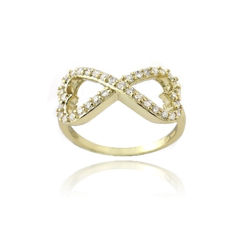 Gold Tone over Sterling Silver CZ Infinity Hearts Ring
