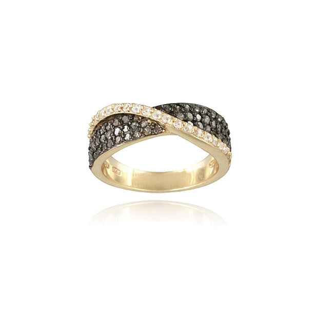 Gold Tone over Sterling Silver 3/5ct Champagne Diamond & White Topaz Crossover Ring