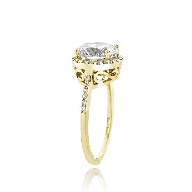 Gold Tone over Sterling Silver 0 Facets Cubic Zirconia Halo Ring (3cttw)
