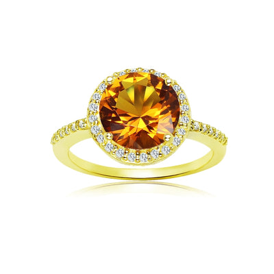 Yellow Gold Flashed Silver Simulated Citrine and Cubic Zirconia Round Halo Ring, Size 10