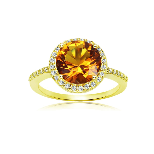 Yellow Gold Flashed Silver Created Citrine and Cubic Zirconia Round Halo Ring,