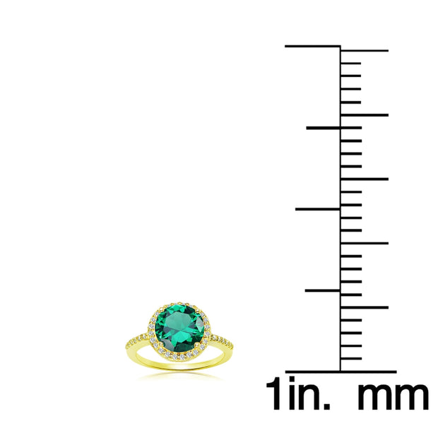 Yellow Gold Flashed Silver Simulated Emerald and Cubic Zirconia Round Halo Ring, Size 10