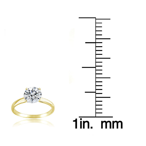 Gold Tone over Sterling Silver 0 Facets Cubic Zirconia Ring (1 cttw)