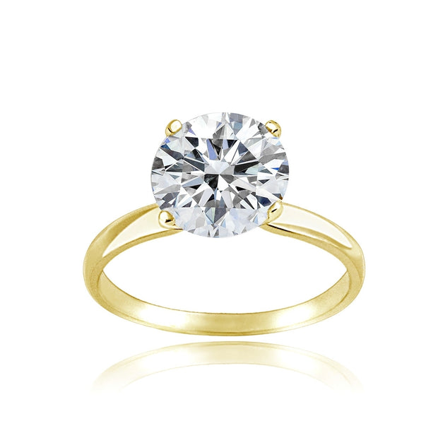 Gold Tone over Sterling Silver 0 Facets Cubic Zirconia Ring (2cttw)