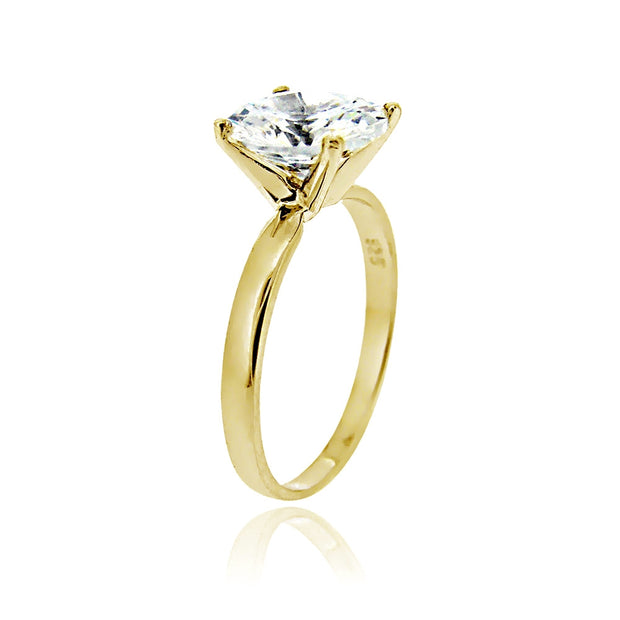 Gold Tone over Sterling Silver 0 Facets Cubic Zirconia Solitaire Ring (3 cttw)
