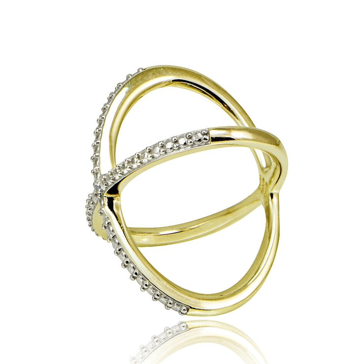 Gold Tone over Sterling Silver Diamond Accent Criss-Cross X Ring