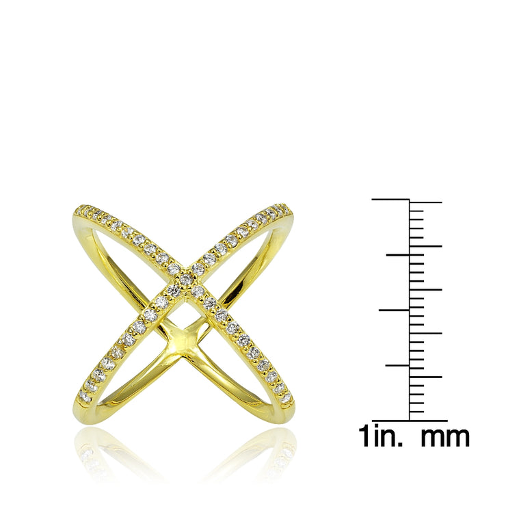 Gold Tone over Sterling Silver Cubic Zirconia Criss-Cross X Ring