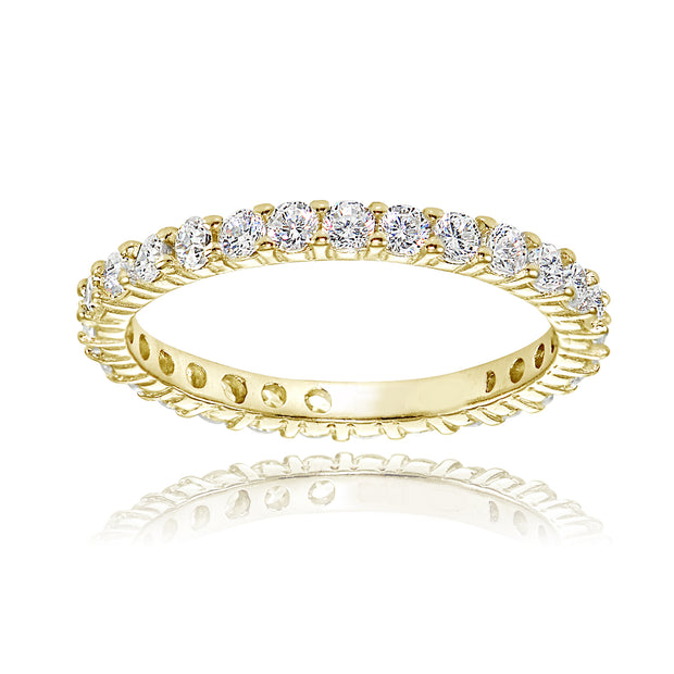 1K Gold over Silver Cubic Zirconia 2mm Round-cut Eternity Band Ring
