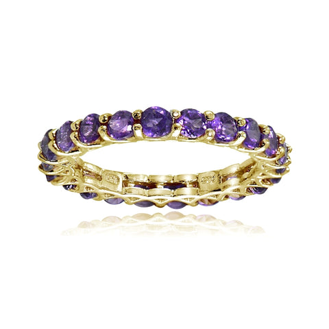 Yellow Gold Flashed Sterling Silver African Amethyst 3mm Round-cut Eternity Band Ring