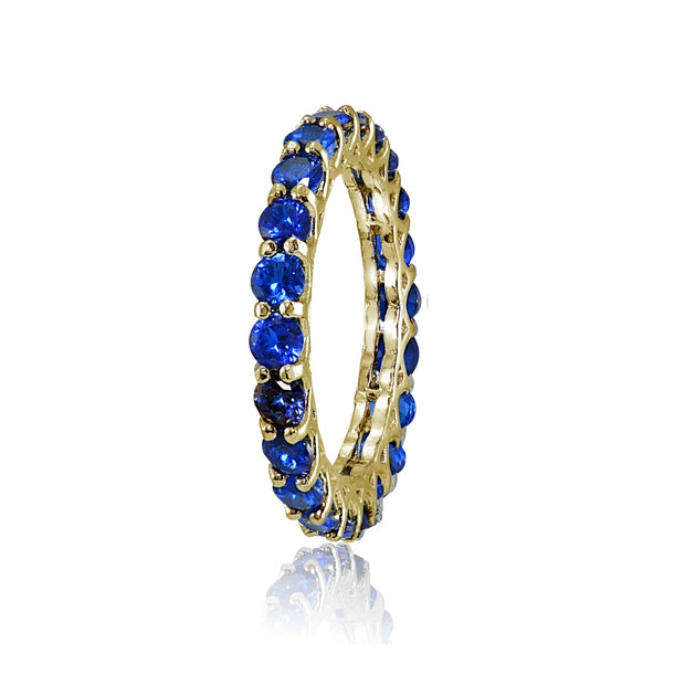 Yellow Gold Flashed Silver Created Blue Sapphire 3mm Round-cut Eternity Band Ring