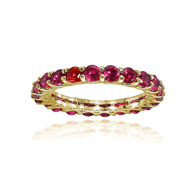 Yellow Gold Plated Sterling Silver Created Ruby 3mm Round-cut Eternity Band Ring