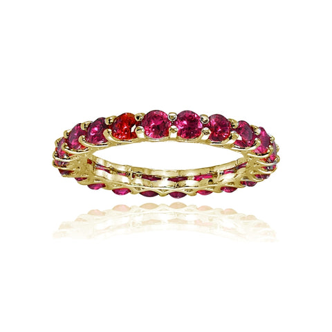 Yellow Gold Flashed Sterling Silver Created Ruby 3mm Round-cut Eternity Band Ring