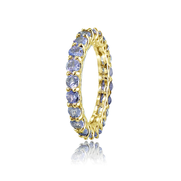Yellow Gold Flashed Sterling Silver Tanzanite 3mm Round-cut Eternity Band Ring