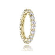 1K Gold over Silver Cubic Zirconia 3mm Round-cut Eternity Band Ring