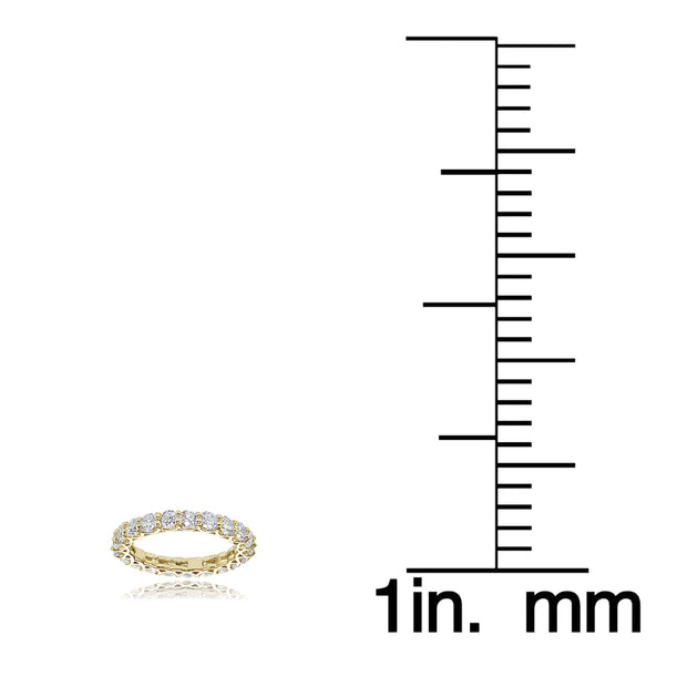 18K Gold over Silver Cubic Zirconia 3mm Round-cut Eternity Band Ring