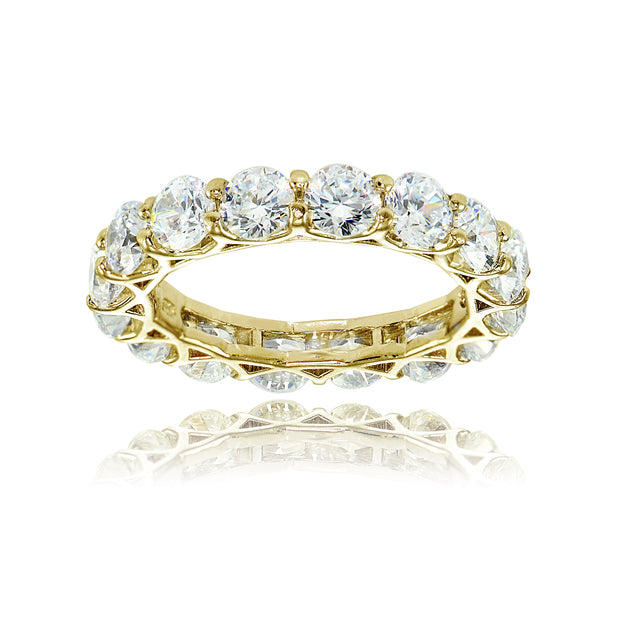 1K Gold over Silver Cubic Zirconia 4mm Round-cut Eternity Band Ring
