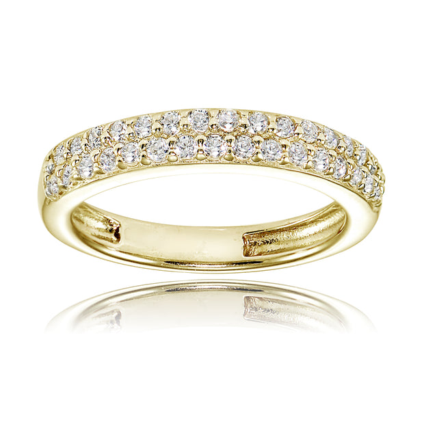 1K Gold over Silver Cubic Zirconia 2-row Round-cut Eternity Band Ring
