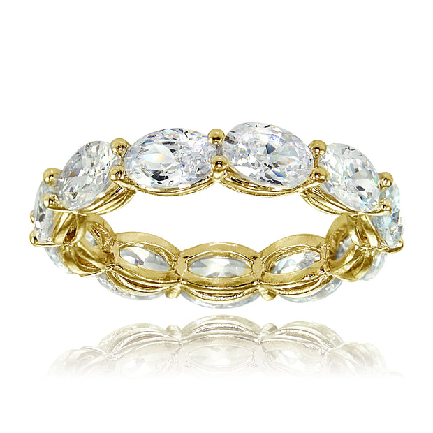 1K Gold over Silver Cubic Zirconia x4mm Oval-cut Eternity Band Ring