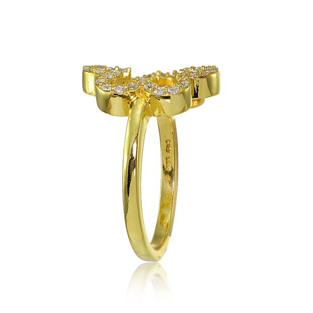 Yellow Gold Flashed Sterling Silver Cubic Zirconia Open Flower Ring,