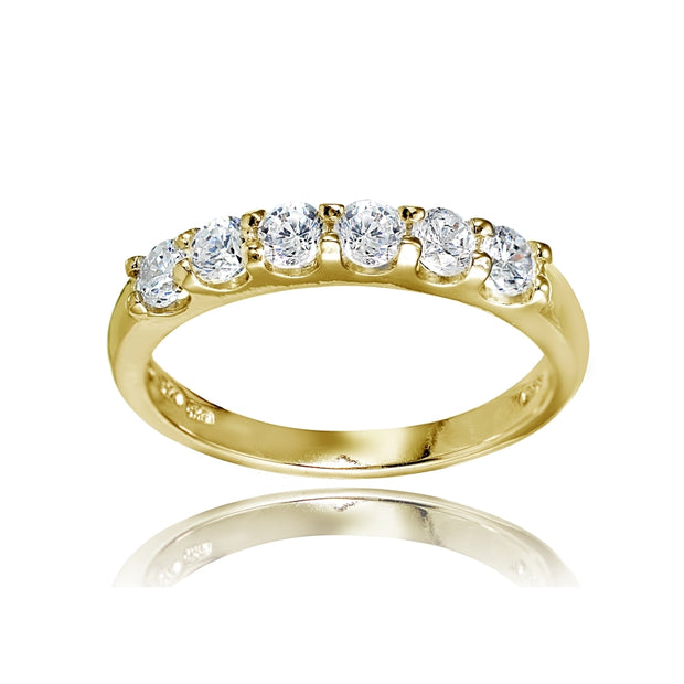 Yellow Gold Flashed Sterling Silver Cubic Zirconia Half Eternity Anniversary Band Ring