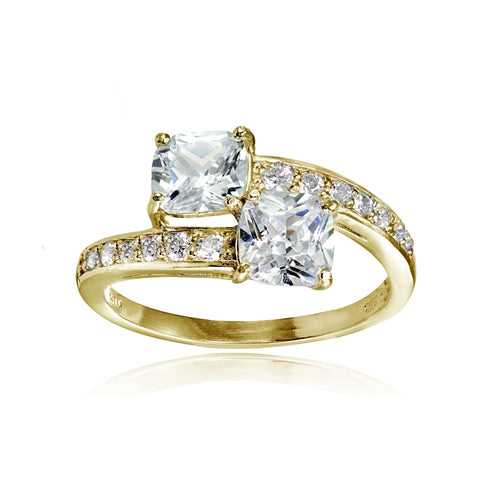 Yellow Gold Flashed Sterling Silver Cushion-cut Cubic Zirconia Friendship Engagement Ring
