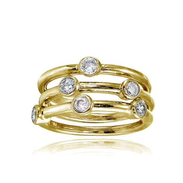 Yellow Gold Flashed Sterling Silver Cubic Zirconia Set of 3 Stackable Bezel-set Band Rings