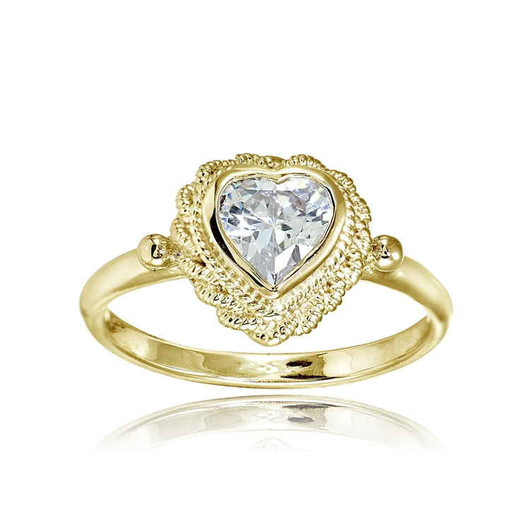 Yellow Gold Flashed Sterling Silver Cubic Zirconia Heart Ring