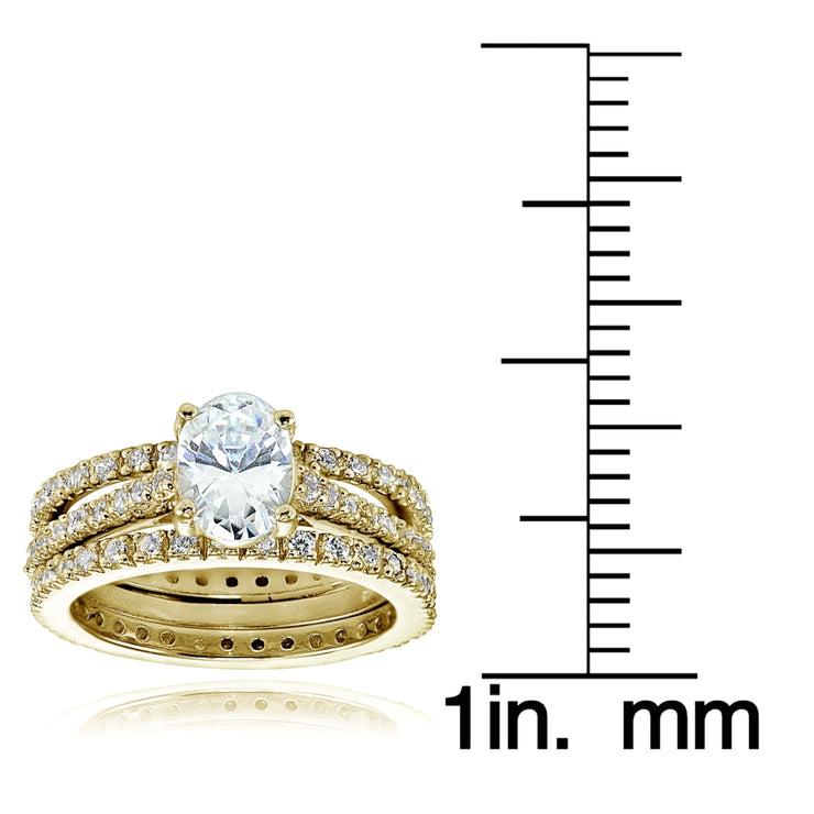 Yellow Gold Flashed Sterling Silver 3ct Cubic Zirconia Bridal Wedding Band Ring Set
