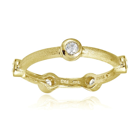 Yellow Gold Flashed Sterling Silver Brushed Satin Cubic Zirconia Ring