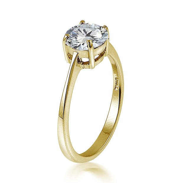 Yellow Gold Flashed Sterling Silver 3.2ct CZ Round Bridal Engagement Ring