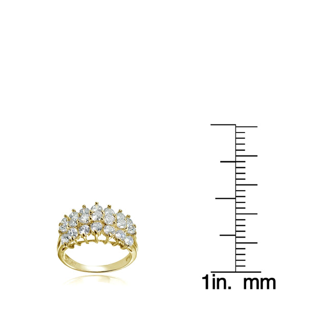 Yellow Gold Flashed Sterling Silver CZ 3 Row Half Eternity Anniversary Ring, S