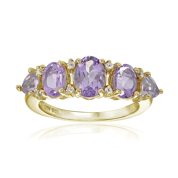 Yellow Gold Flashed Sterling Silver Amethyst and White Topaz 5-Stone Half Eternity Band Ring