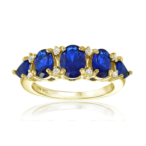 Yellow Gold Flashed Sterling Silver Created Blue Sapphire and White Topaz 5-Stone Half Eternity Band Ring