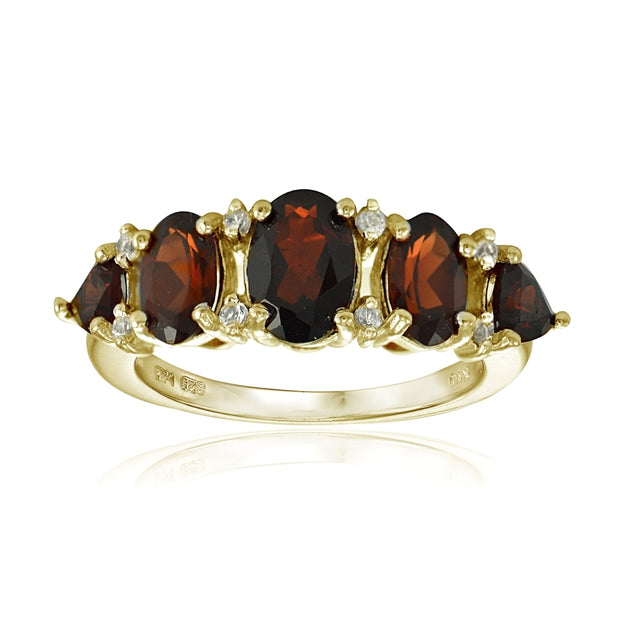 Yellow Gold Flashed Sterling Silver Garnet and White Topaz -Stone Half Eternity Band Ring