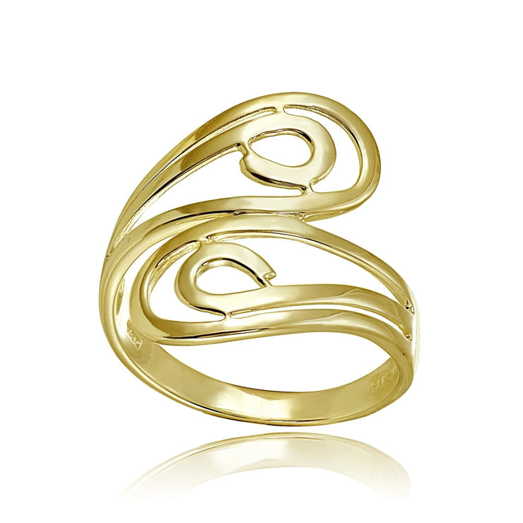 Yellow Gold Flashed Sterling Silver High Polished Open Wrap Swirl Fashion Ring