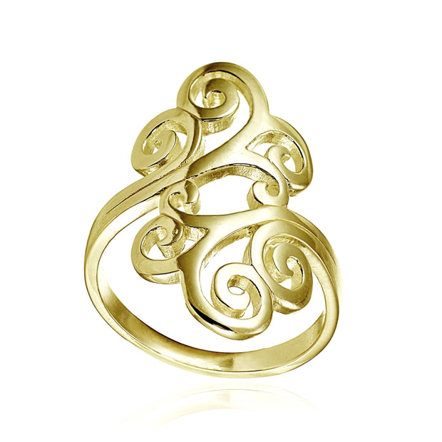 Yellow Gold Flashed Sterling Silver High Polished Open Filigree Fashion Ring