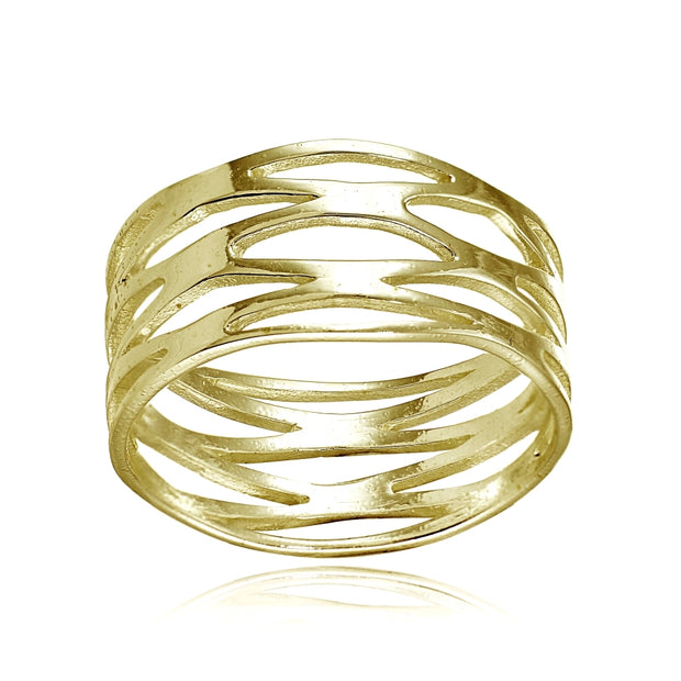 Yellow Gold Flashed Sterling Silver High Polished Multi Wrap Band Ring,