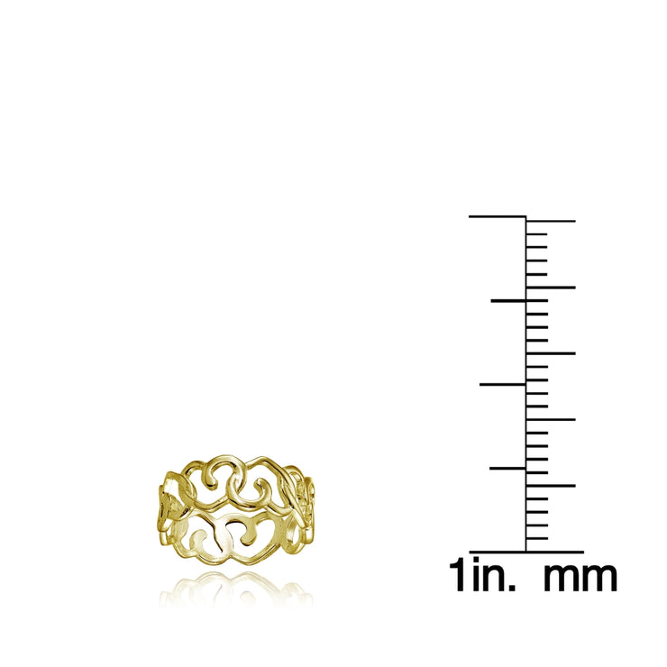 Yellow Gold Flashed Sterling Silver High Polished Intertwining Open Heart Eternity Band Ring